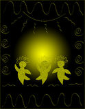 Circle Dancers. And sun black and gold background Stock Photography