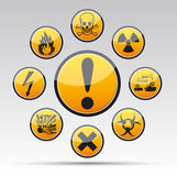Circle Danger sign collection Royalty Free Stock Photos