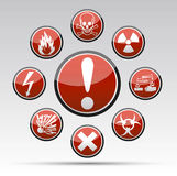 Circle Danger sign collection. Isolated  Circle Danger sign collection with black border, reflection and shadow on light background Stock Image