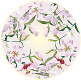 Circle decoration with lily flowers Stock Image