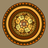 Circle with decorative elements. Drawn by hand. Vector gold in brown shades. Stock Photos