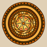 Circle with decorative elements, painted by hand. Vector gold in brown shades. Royalty Free Stock Images