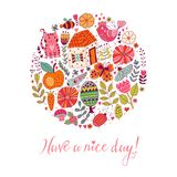 Circle design card made of flowers, cat, fruits, bird, butterfly  and other doodes. Have a nice day.  Stock Photos