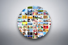 Circle design element made of pictures of people, animals and places Stock Images