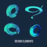 Circle design element set. Business Blue Circle icon. Corporate,Technology logo design template. Stock Photo