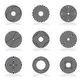 Circle design elements. Lines patterns. Circle design elements. Lines patterns set. Vector art Stock Illustration