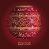 Circle design with golden lace ornament on deep red background. Royalty Free Stock Images