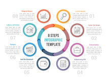 Circle Diagram with Eight Steps. Circle diagram infographic template with arrows with eight steps, workflow, process Royalty Free Stock Images