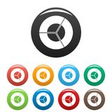 Circle diagram icons set collection circle. Circle diagram icons set in simple style many color circle isolated on white background Stock Photography