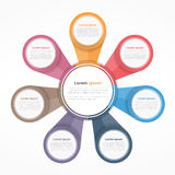 Circle Diagram with Seven Elements Stock Photo