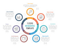 Circle Diagram with Seven Steps Royalty Free Stock Photography
