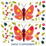 Circle 5 differences Educational Game for Preschool Children Picture puzzle: Find the five differences between the two pictures Fu. Nny insects butterfly with Stock Photos