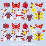 Circle 5 differences Educational Game for Preschool Children Picture puzzle: Find the five differences between the two pictures in. Sects Spider butterfly Stock Images