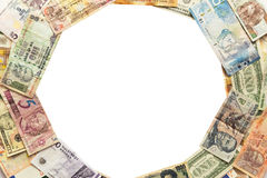 Circle of different banknotes Royalty Free Stock Photography