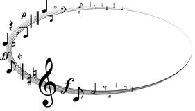 Circle of different music notes Royalty Free Stock Images