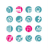 Circle document icons. Blue and pink Stock Photo