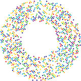Circle with dots for Design Project.Halftone effect  illustration. Colorful dots on white background. Golden background. Rou Royalty Free Stock Images