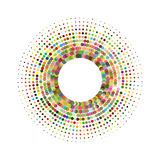 Circle with dots for Design Project. Halftone effect vector illustration. Colorful dots on white background. Black and white Sunbu Royalty Free Stock Image