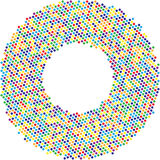 Circle with dots for Design Project. Halftone effect vector illustration. Colorful dots  Royalty Free Stock Photography