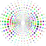 Circle with dots for Design Project. Halftone effect vector illustration. Colorful dots on white background. Sunburst background. Round frame design template stock illustration