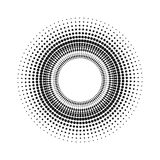 Circle with dots for Design Project. Halftone effect vector illustration. Gray dots on white background. Black and white Sunburst. Background. Round frame Stock Photo