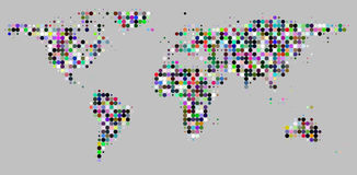 Circle dots grid pattern world map on gray Royalty Free Stock Photo