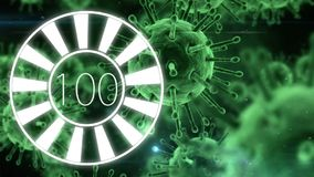 Circle downloading from 0 to 100 with green virus animation. Digital composite of circle downloading from 0 to 100 with green virus animation in the background vector illustration