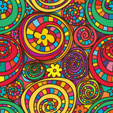 Circle drawing colorful flowers seamless pattern
