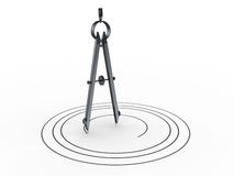 Circle drawing compass. 3d illustration of circle drawing, over white background Stock Image