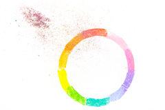 Circle drawn with colorful pastel chalks Stock Photos