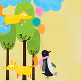 Circle dust fox penguin card. This illustration is design circle dust with fox and penguin abstract different way with trees, clouds and balloons decoration in Stock Images