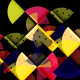 Circle elements on black background. Vector geometric template design stock illustration