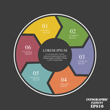 Circle elements for infographic. Business concept with 6 options, parts, steps or processes. Circle  elements for infographic. Business concept with 6 options Stock Photos