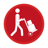 Circle emblem pictogram of man and hand truck and packages Royalty Free Stock Photo