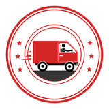 Circle emblem of truck with wagon Stock Image