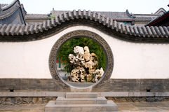 Circle entrance of Chinese garden Stock Photos
