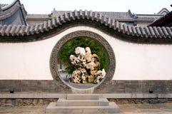 Circle entrance of Chinese garden stock photos