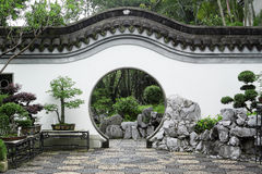 Circle entrance of Chinese garden Royalty Free Stock Image