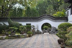 Circle entrance of Chinese garden in Hong Kong royalty free stock photo