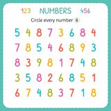 Circle every number Eight. Numbers for kids. Worksheet for kindergarten and preschool. Training to write and count numbers. Exerci. Ses for children. Vector royalty free illustration