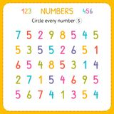 Circle every number Five. Numbers for kids. Worksheet for kindergarten and preschool. Training to write and count numbers. Exercis. Es for children. Vector stock illustration
