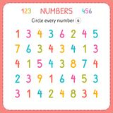 Circle every number Four. Numbers for kids. Worksheet for kindergarten and preschool. Training to write and count numbers. Exercis. Es for children. Vector royalty free illustration
