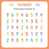 Circle every number Nine. Numbers for kids. Worksheet for kindergarten and preschool. Training to write and count numbers. Exercis. Es for children. Vector royalty free illustration