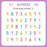 Circle every number One. Numbers for kids. Worksheet for kindergarten and preschool. Training to write and count numbers. Exercise. S for children. Vector royalty free illustration