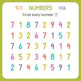 Circle every number Seven. Numbers for kids. Worksheet for kindergarten and preschool. Training to write and count numbers. Exerci. Ses for children. Vector royalty free illustration