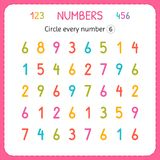 Circle every number Six. Numbers for kids. Worksheet for kindergarten and preschool. Training to write and count numbers. Exercise. S for children. Vector royalty free illustration