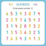 Circle every number Three. Numbers for kids. Worksheet for kindergarten and preschool. Training to write and count numbers. Exerci. Ses for children. Vector Stock Photo