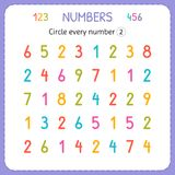 Circle every number Two. Numbers for kids. Worksheet for kindergarten and preschool. Training to write and count numbers. Exercise. S for children. Vector Stock Image