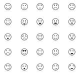 Circle face icons with reflect on white background Royalty Free Stock Images