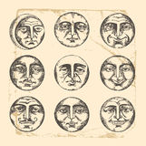 Circle faces- vintage drawing Stock Photography